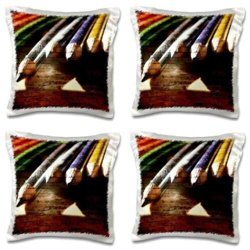 3dRose Pencils and Bricks- Artistic Photography, Pillow Case