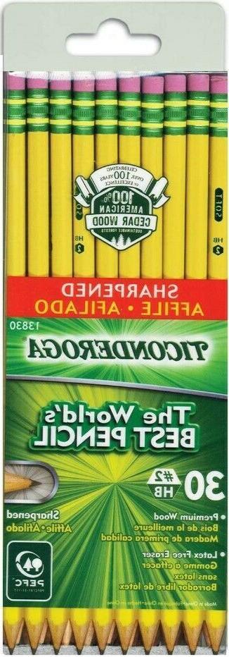 Ticonderoga Pencils Wood-Cased Graphite #2 HB Soft Pre-Sharp