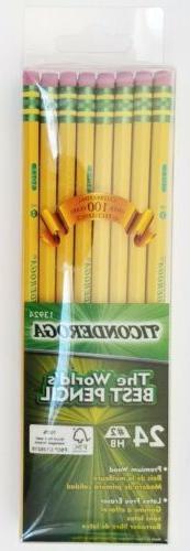 Dixon Ticonderoga Wood-Cased #2 Pencils, Box of 24, Yellow