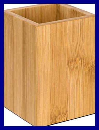 Wood Pen Desk Pencil Organizer Cup Bamboo