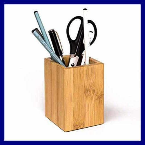 Wood Pen Pencil Holders Wooden Organizer Cup For BROWN Bamboo