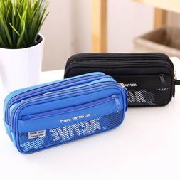 Large Double Zip Pencil Case Box Boy Girl Bag School Station