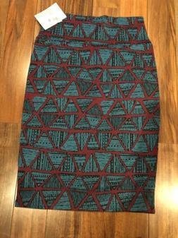 Lularoe LLR Cassie Skirt Pencil Teal Blue Green Brown Size S