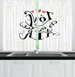 "Love Kitchen Curtains 2 Panel Set Window Drapes 55"" X 39"" Am"