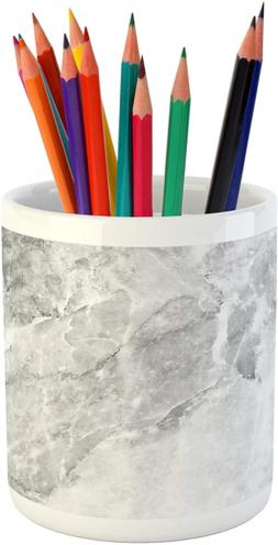 Lunarable Marble Pencil Pen Holder, Retro Marble Pattern wit