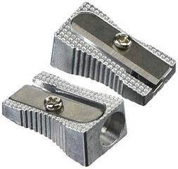 Metal Pencil Sharpener, Metallic Silver, 4/Pack