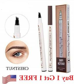 Microblading Eyebrow Pen Waterproof Fork 4 Tips Tattoo Long