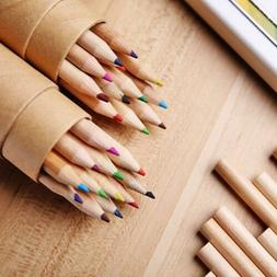 Mini Colored Pencils With Sharpener Wooden Writing Painting
