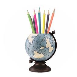 MUAMAX Pen Holder for Desk Globe Blue Pencil Cup Desk Organi