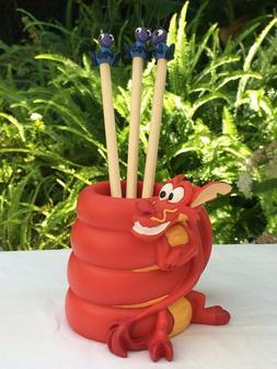 Disney Mulan's Mushu Pencil Holder Set with 3 Cri-Kee topped