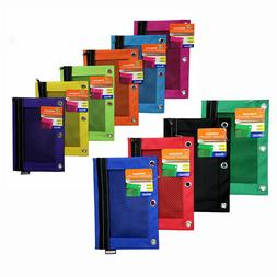 Bazic 3-Ring Binder Zippered Stationery Mesh Pencil Pouch As
