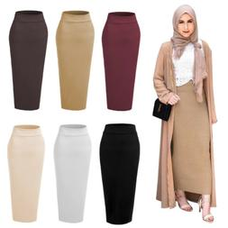 Muslim Thick Skirt Bodycon Slim High Waist Stretch Long Maxi