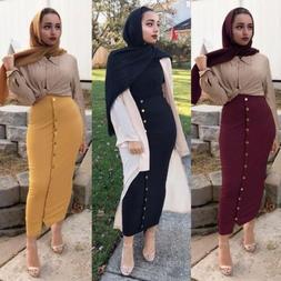 Muslim Women Skirt Bodycon Slim Stretch Long Maxi High Waist