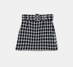 NWT Zara M Houndstooth Belted Skirt Black White Textured Twe