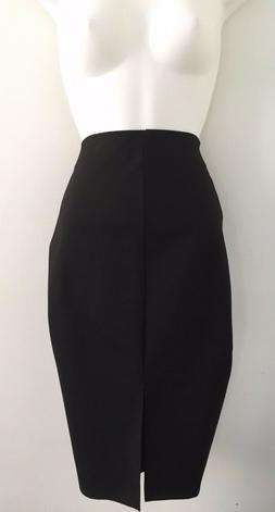 NWT ZARA WOMAN Black Midi Pencil Skirt With Slit Strech Wais