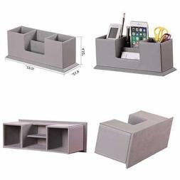 Office Pencil Holder PU Leather Multifunctional Desk Supplie