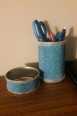 Pencil Cup, desk organizer, handmade desk set, blue desk set