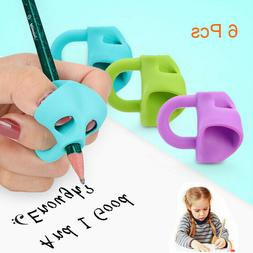 6PCS Silicone Pencil Grips for Kids ,Pen Writing Aid Grip Po