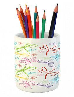 Ambesonne Pencil Pen Holder Ceramic Design for Desk Office A