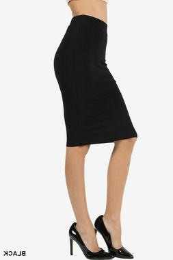 Pencil skirt high waist midi knee length straight career cot