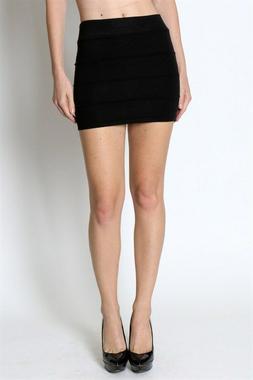 Pencil skirt mini skirt bandage knit sweater bodycon casual