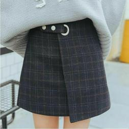 Plaid Retro Skirt Thick Woolen Skirt Pencil Mini Skirt Kawai