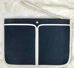 Kate Spade New York Pouch Cosmetic Bag Zipper Navy Blue Penc