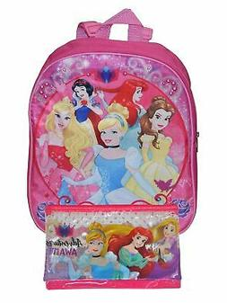 """Disney Princesses Small 12"""" Backpack & Large Pencil Pouch 3-"""