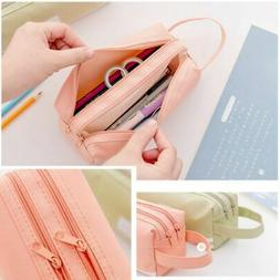 Kids Girl Handle Pencil Pen Case Large Capacity School Stati