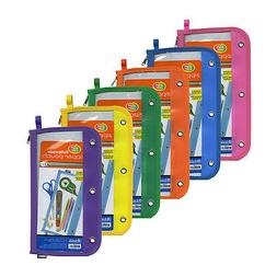 """6 pc/set  Bazic BRIGHT COLOR 11.5""""x6.5"""" 3-ring Clear Window"""