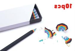 Set of 10pc Rainbow Pencils Wooden Colorful School Office St