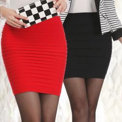 Sexy Women's Pleated Stretch Seamless Bodycon Mini Skirt Sho