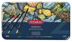 Derwent Studio Colored Pencils, 3.4mm Core, Metal Tin, 72 Co