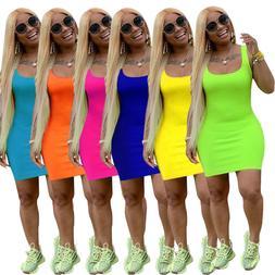Summer Women Low Cut Sleeveless Bodycon Dress Casual Midi Pe