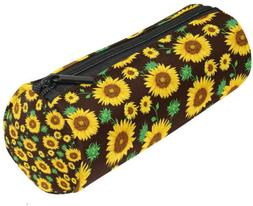 ALAZA Sunflowers and Leaves on Black Flower Pencil Pen Case