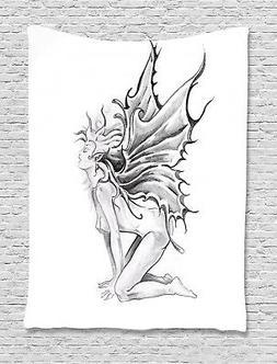 Tattoo Tapestry Pencil Drawing Angels Print Wall Hanging Dec