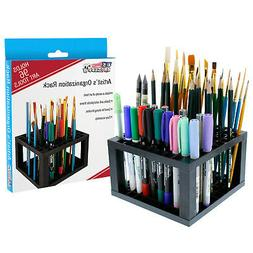 U.S. Art Supply 96 Hole Plastic Pencil & Brush Holder - Desk
