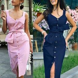 US Fashion Women Striped Square Collar Sleeveless Dress Butt
