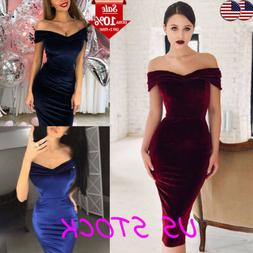 Women Bodycon Pencil Dress Velvet Off Shoulder Midi Dress Ev