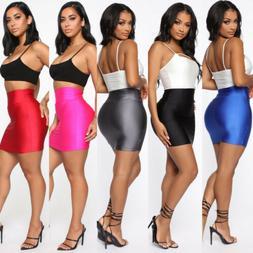 Women Casual High Waist Skirt Short Bodycon Stretchy Mini Sk