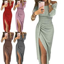 Women Off Shoulder High Split Shiny Midi Pencil Dress for Co