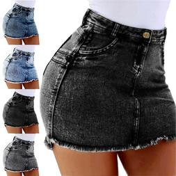 Womens Stretch Mini Pencil Skirts High Waist Denim Jeans Cas