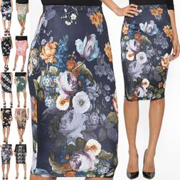 TheMogan Women's Floral Print Stretch Pencil Midi Knee Skirt