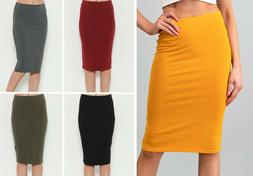 Women's Pencil Skirt Solid Colors Stretch Cotton Knee Length