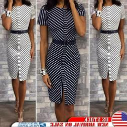 Women's Summer Party Midi Pencil Dress Ladies OL Office Form