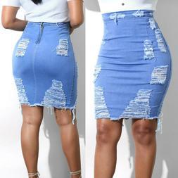 Women Stretch Pencil Skirt High Waist Hole Skirts Denim Jean