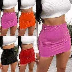 Womens Celebs VINYL PU Skirt Wet Look Lady PVC Party Club We