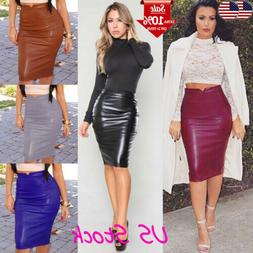 Womens Club High Waist Bodycon Pu Leather Stretch Business O