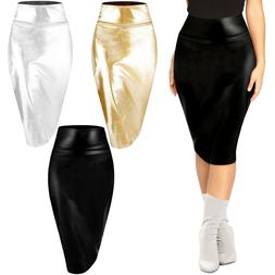 Womens Metallic Midi Pencil Skirt Shiny Faux Leather High Wa