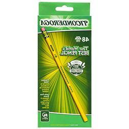 Ticonderoga Wood-Cased Graphite Pencils, #2 HB Soft, Yellow,
